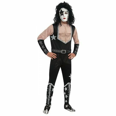Starchild KISS Band Men's Adult Jumpsuit, Belt, Wig Halloween Costume, Medium (Kiss Band Halloween)
