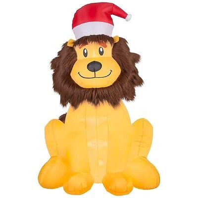 Christmas Inflatable Lion w/ Furry Mane & Santa Hat By Gemmy