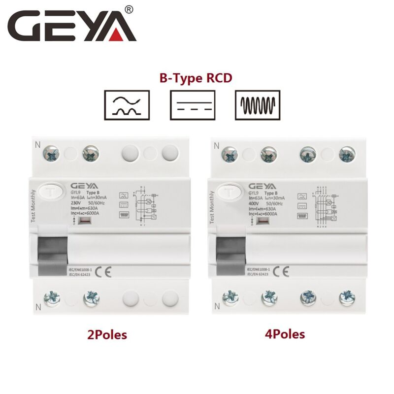 GEYA B-Type ELCB Circuit Breaker RCCB RCD 2Pole 4Pole 40/63Amp 30/300mA 10kA