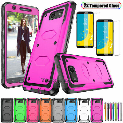 For Samsung Galaxy J3 Prime/Emerge/Luna Pro Case Cover + Glass Screen Protector