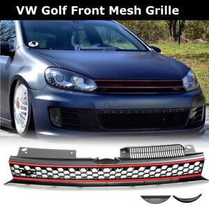 For VW Golf 6 MK6 GTI 2010-14 Front High Bar Black Red Trim Upper Mesh Grille US