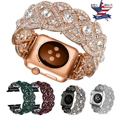 Bling Crystal Diamond Rhinestone Band Wrist Watch Strap For Apple Watch Iwatch Crystal Red Strap Watch