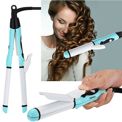 - 2 in 1 Curler & Straightener Hot Hair Curling Iron Ceramic Wave Wand Roller US