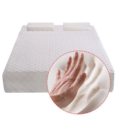 King Size 10 Inch Memory Foam Mattress Pad Bed Topper  W 2 Contoured Pillows New