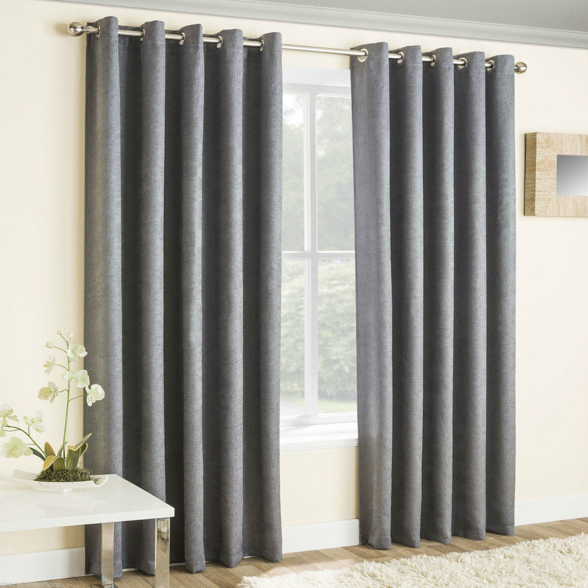 VOGUE THERMAL BLOCKOUT LINED CURTAINS EYELET RING TOP PLAIN TEXTURED READY MADE