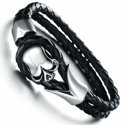Men's Braided Leather Skull Cuff Bangle Stainless Steel Bracelet Halloween Gift