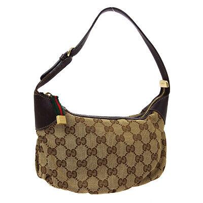 GUCCI GG Logos Hand Bag Brown Vintage Authentic 224093 002058 AK45170