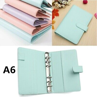 US A6 Loose Leaf Notebook Leaf Ring Leather Cover Weekly Binder Planner Diary