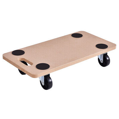 440lbs Platform Dolly Rectangle Wood Utility Cart Wheeled Moving Transporter New