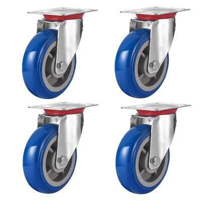 4 Pack 6 Caster Wheels Swivel Plate Casters Blue Polyurethane Wheels No Brake