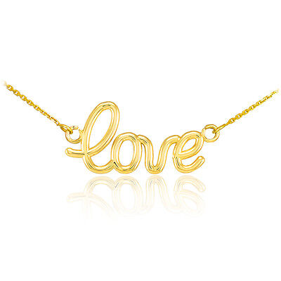 "14k Yellow Gold ""Love"" Script Pendant Necklace Valentine's D"