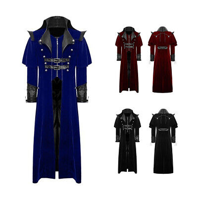 Men Vampire Coat Costume Vintage Gothic Steampunk Trench Cosplay Party Jacket