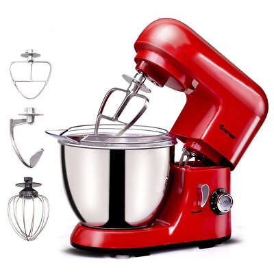 New Electric Food Stand Mixer 6 Speed 4.3Qt 550W Tilt-Head Stainless Steel Bowl