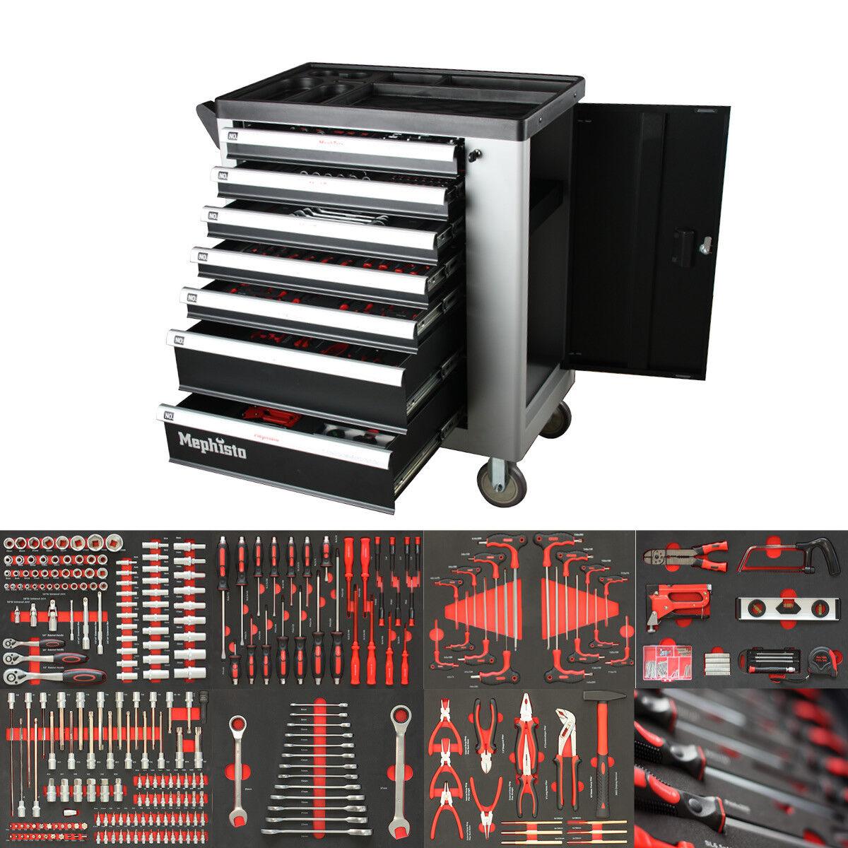 PremiumPro Werkzeugwagen mit Werkzeug gefüllt Weichschaumeinlagen Werkstattwagen