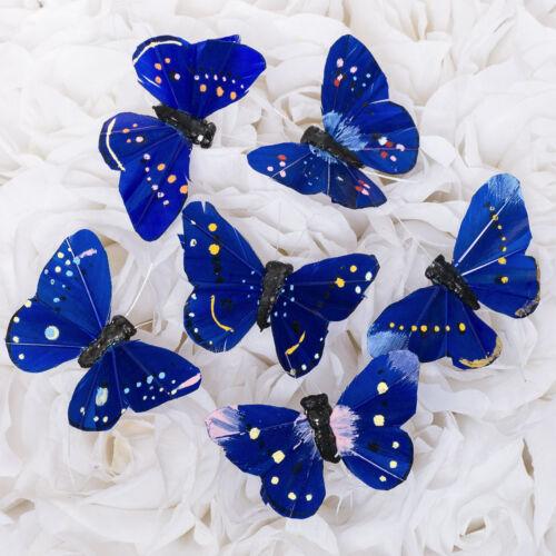 """2.75"""" Artificial Decorative Blue Feather Butterflies - 12pcs Butterfly Craft"""
