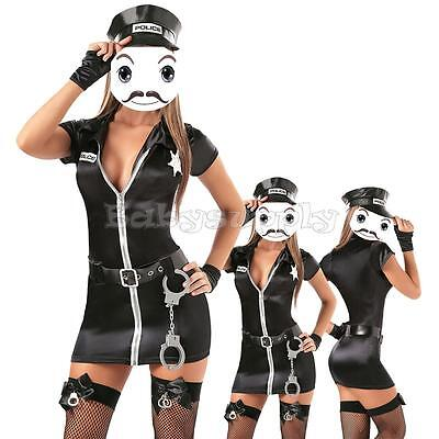 Hot Sexy Police Cop Uniform Officer Costume Women Halloween Cosplay Fancy Dress (Hot Female Cops)