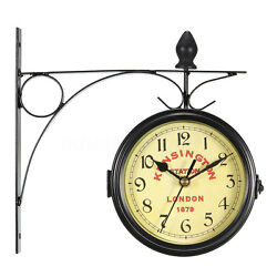 Double Sided Metal Wall Clock Hanging Metal Frame Antique Style Station Decor !