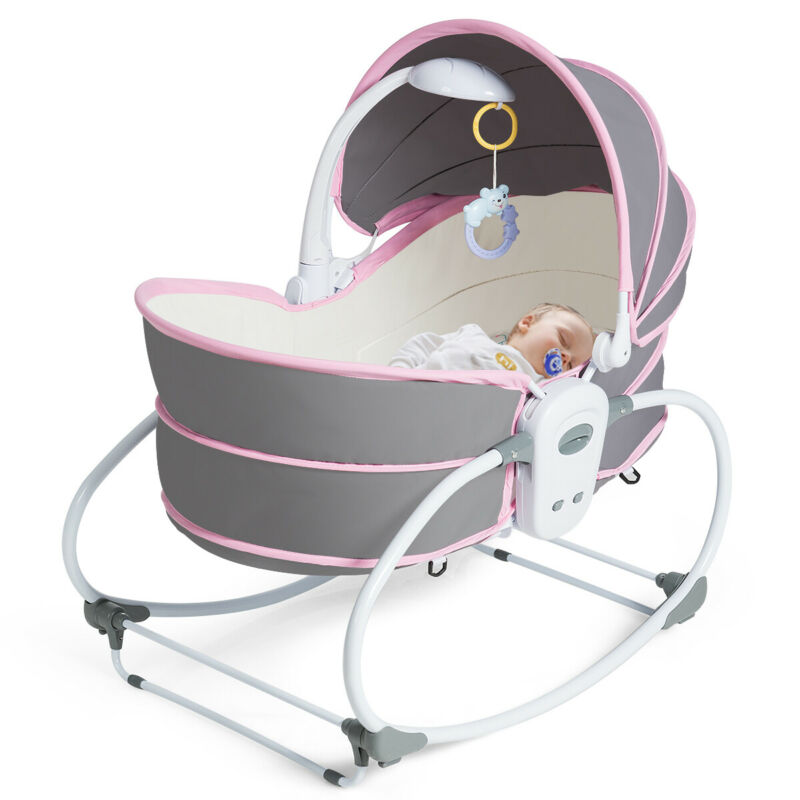 5 in 1 Portable Baby Rocking Bassinet Multi-Functional Crib w/ Adjustable Canopy