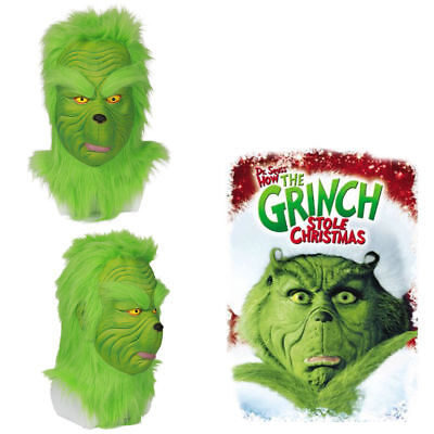 How the GRINCH Stole Christmas Cosplay Costume LATEX Mask with Hair Halloween