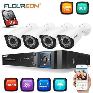 1TB HDD 8CH 1080P DVR 4 x Camera 3000TVL 2MP Security system kit Doveton Casey Area Preview