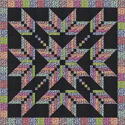 Easy Quilt Kit/Exploding Star Floral/3D/Pre-cut Fabrics Ready To Sew/
