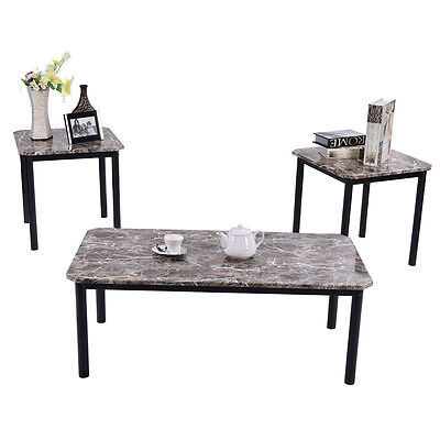 3 Piece Fresh Faux Marble Coffee and End Table Set Living Room Furniture Decor
