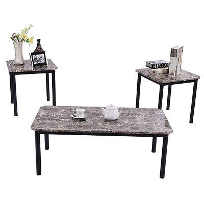 تربيزه جديد 3PCS Modern Faux Marble Coffee and End Table Set Living Room Furniture Decor Mew