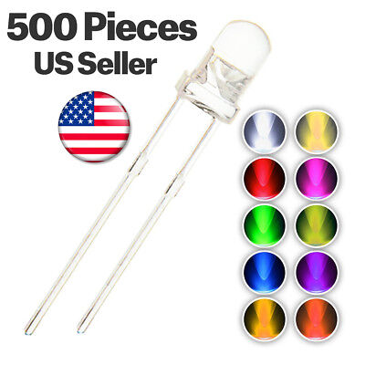 500pcs 10 Colors 5mm Led Clear White Diode Assorted Kit Mix Red Blue Green Uv ..