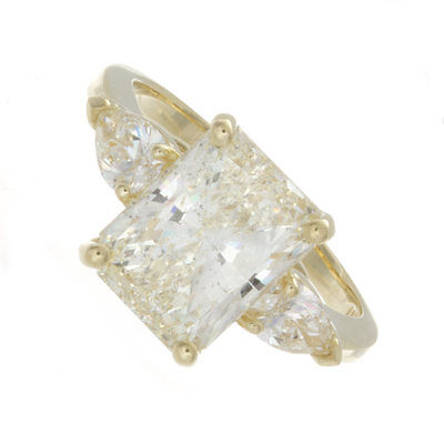 3.50ct Certified Radiant Cut Diamond 18k Yellow Gold Three Stone Engagement (Radiant Cut Three Stone Diamond Engagement Rings)