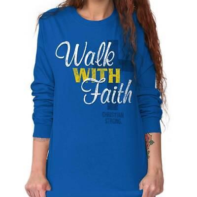 Walk With Faith Christian Jesus Christ Savior Long Sleeve T-Shirts Tee For - Walk With Jesus