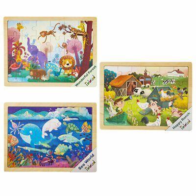 Robotime Wooden Jigsaw Puzzles 3 Set Animal Preschool Toy Gift for Kids Boy Girl