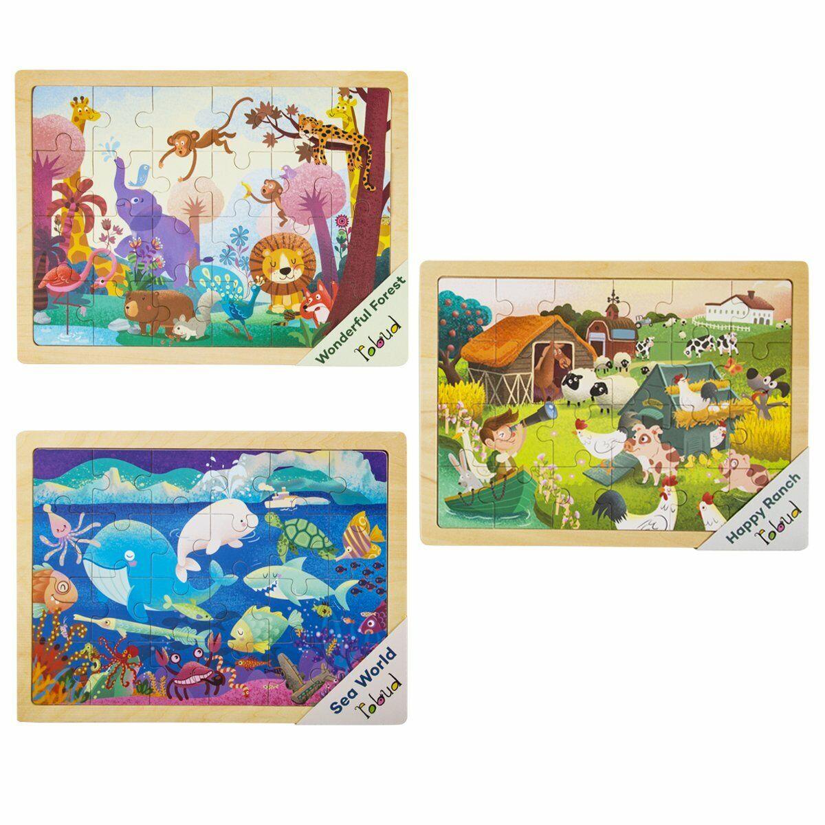Robotime Wooden Jigsaw Puzzles 3 Set Animal Preschool Toy Gi