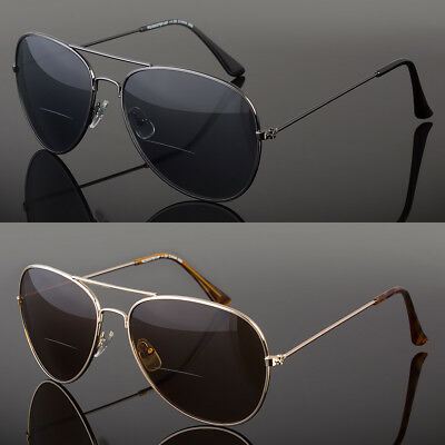 Retro Men Aviator Bifocal Tinted Sun Reader Reading Sunglasses Uv400 (Sunglass Readers For Men)