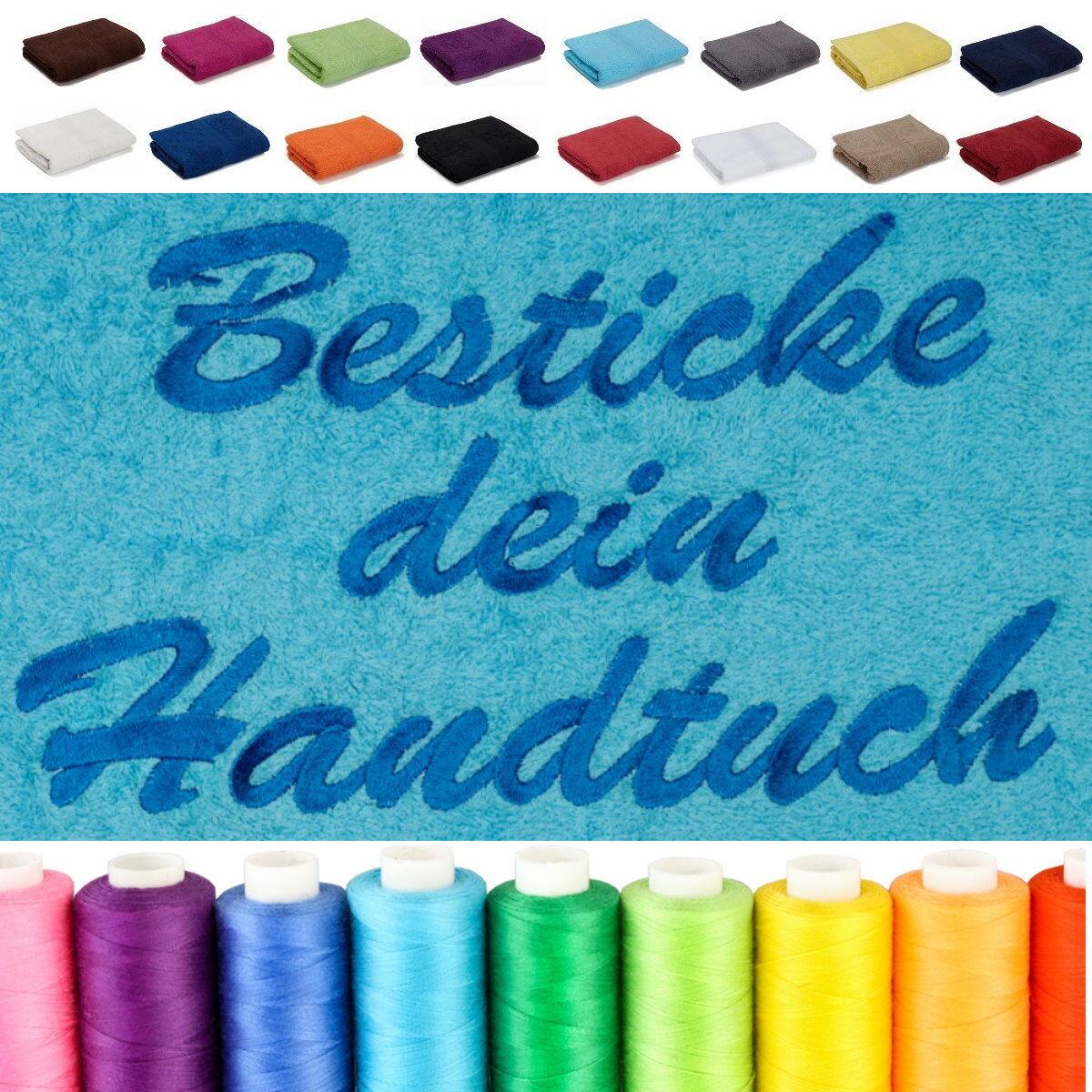 BESTICKT MIT NAMEN Handtuch Duschtuch Badetuch Saunatuch XXL Besticken mit Namen