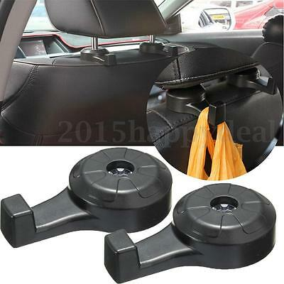 2X Universal Car Seat Headrest Luggage Bags Hanger Humanized Hook Holder BLACK
