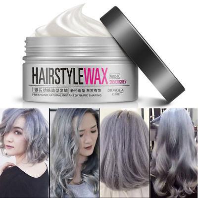 Unisex Temporary Modeling Gray silver DIY Hair Color Wax Mud Dye Cream #dsa