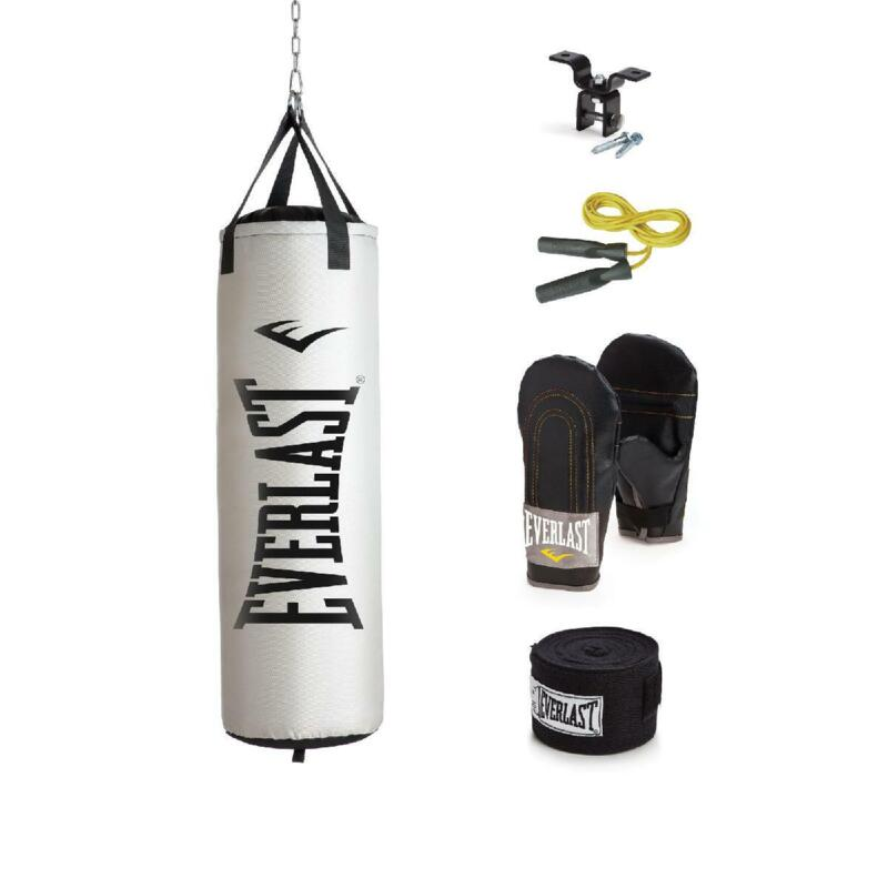 Everlast Heavy Bag Gloves Kit Filled Punching Bag With Palm Grip Boxing MMA 70lb
