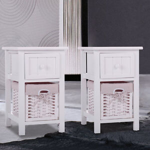 Set Of 2 White Nightstand End Table Bedroom Bedside Furniture W Wicker Storage
