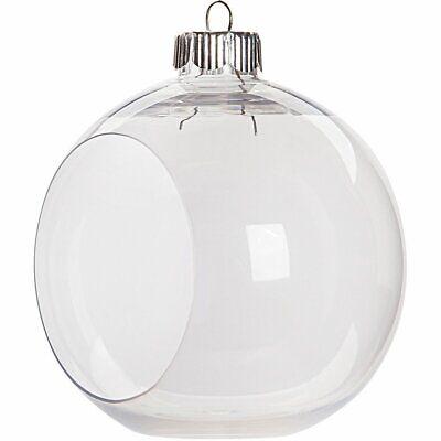 12 Clear Plastic Ornament Balls, 3.25 Inch (83 mm), Open Front Flat Bottom](Plastic Ornament Ball)