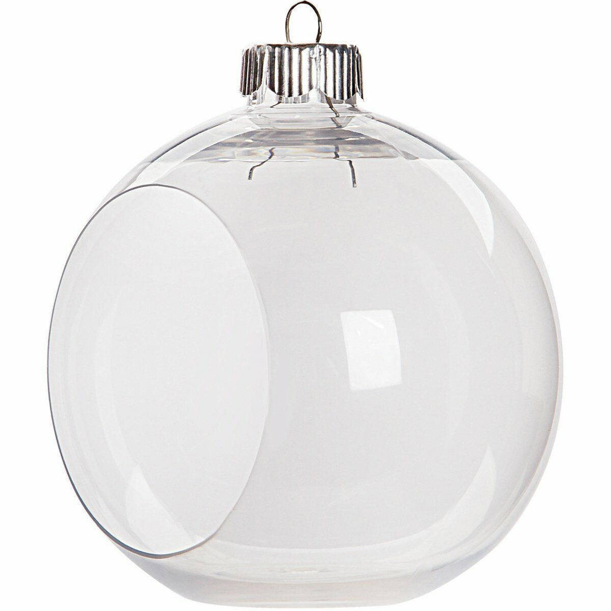 12 Clear Plastic Ornament Balls, 3.25 Inch (83 mm), Open Front Flat Bottom Holiday & Seasonal Décor