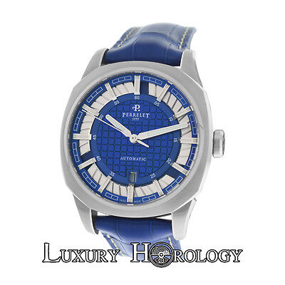 New Men's Perrelet A1061 Peripheral Double Rotor Date Automatic Steel Watch