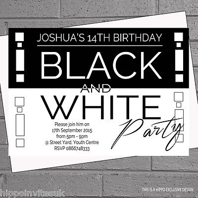 Personalised Black and White Themed Birthday Party Invitations x 12 +env H0539 (Black And White Party Invitations)