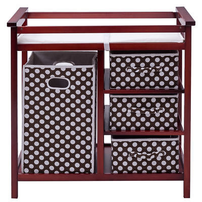 Cherry Baby Changing Table - Cherry Infant Baby WOOD Changing Table Pad Basket Hamper Diaper Storage Shelves