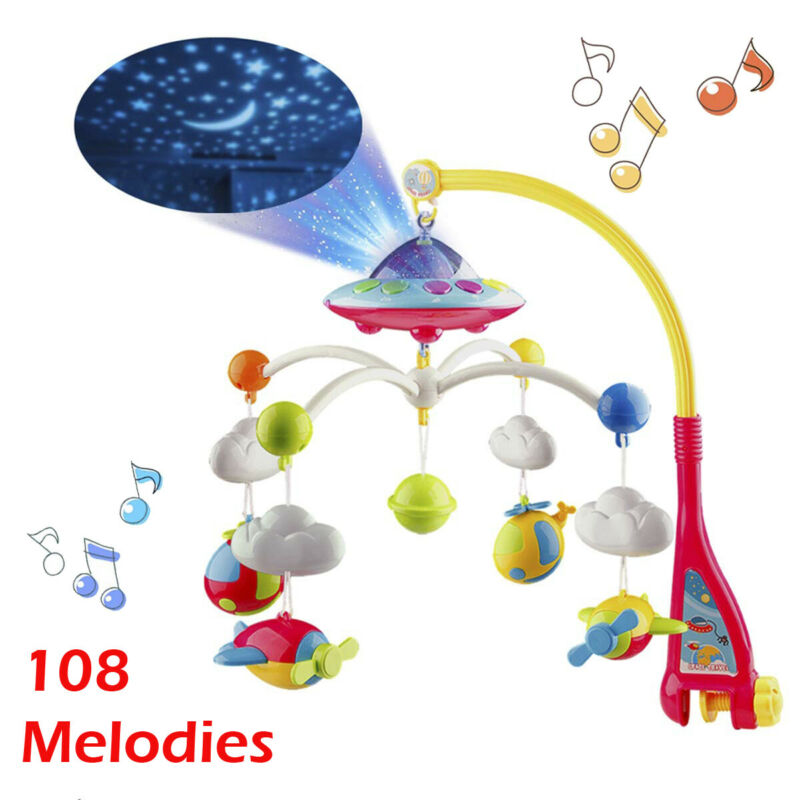 Baby Crib Mobile Toy with Lights and Music Star Projector 108 Songs Musical Box