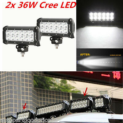 "2Pcs 7"" 36W Cree LED Car SUV 4x4 Off-Road Driving Work Light Flood Beam Lamp Bar"