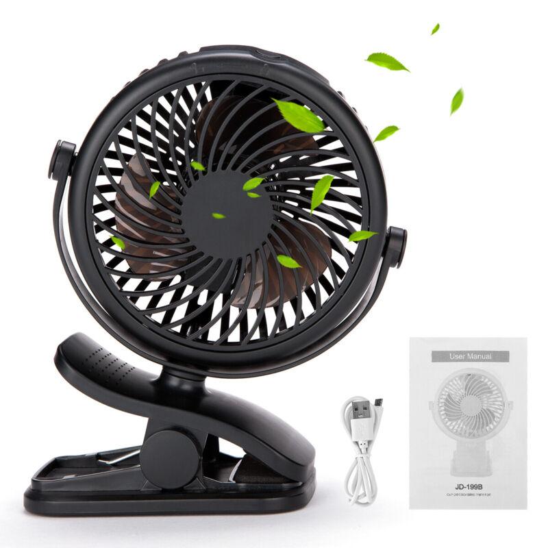Portable Adjustable Clip Fan Cooling Mini Rechargeable Desk Baby Stroller Black