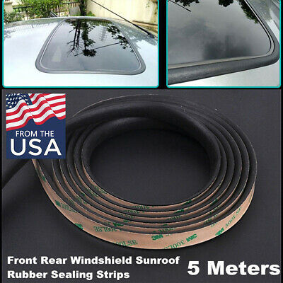 Universal 5M Rubber Sealing Strip Black For Car Front & Rear Windshield Sunroof