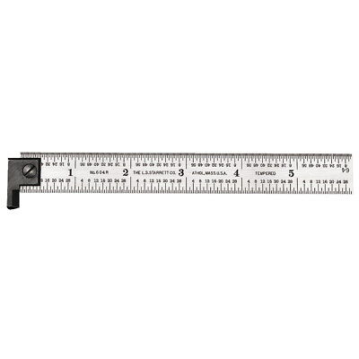 12 Length,1 Width 3//64 Thickness with Hook 12 Length 1 Width 3//64 Thickness 4R Style Graduations Starrett CH604R-12 Spring-Tempered Steel Rules with Inch Graduations