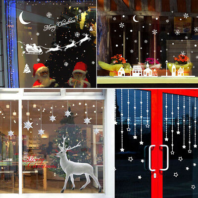 Merry Christmas Removable Wall Sticker Decal Mural Shop&Home Window Decor White
