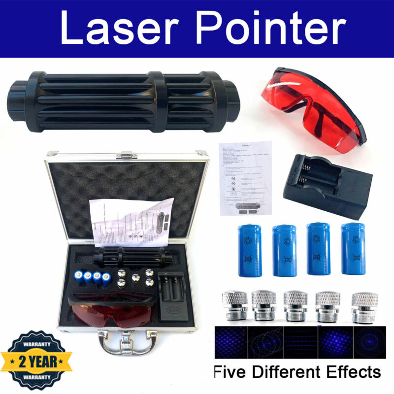 High Power Laser Pointer Blue 450nm Visible Beam Light with 4pcs Batteries + Box